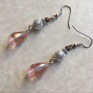 Jewelry - Pink Teardrop Dangle Earrings Silver Tone Beaded